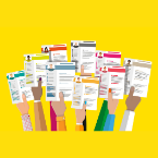 A bunch of hands of various skin tones holding up resume documents on a yellow background