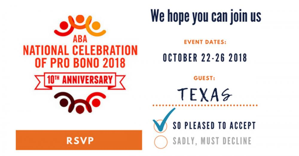 RSVP card marked with the 10th Anniversary of Pro Bono Week logo in different oranges and reds. The Yes box is checked and the guest entry is named
